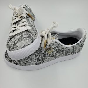 Puma Clyde AO Snake-Embossed Low-Top Sneakers